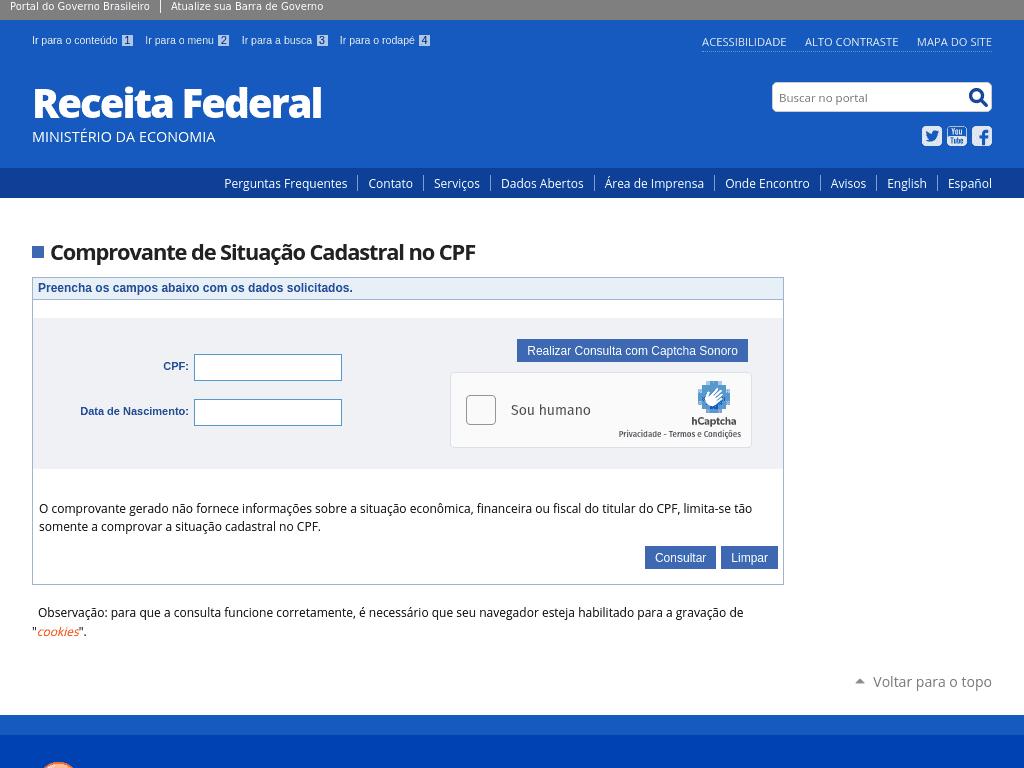 API de Consulta: Receita Federal / CPF - Infosimples